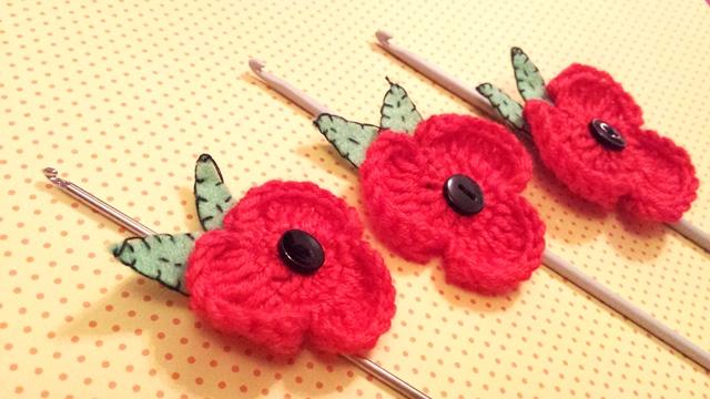 POPPY FLOWER … How to make Poppy Flower Brooch… Free Crochet ...