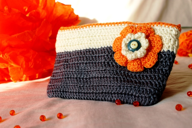 Grey-Off white purse with orange flower